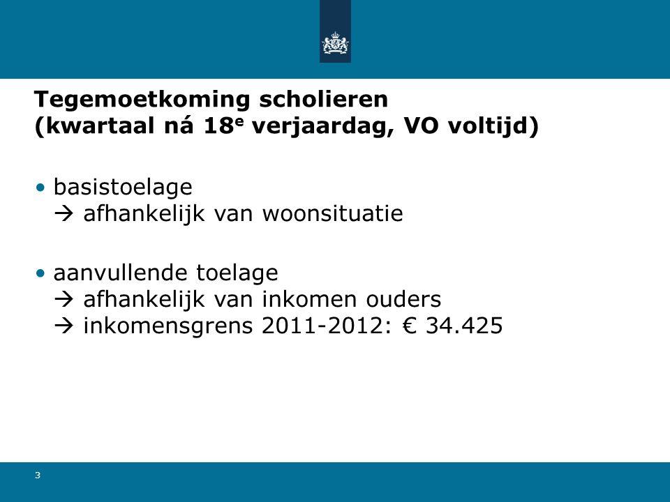 3 Tegemoetkoming scholieren (kwartaal ná 18 e verjaardag, VO voltijd) basistoelage  afhankelijk van woonsituatie aanvullende toelage  afhankelijk van inkomen ouders  inkomensgrens 2011-2012: € 34.425