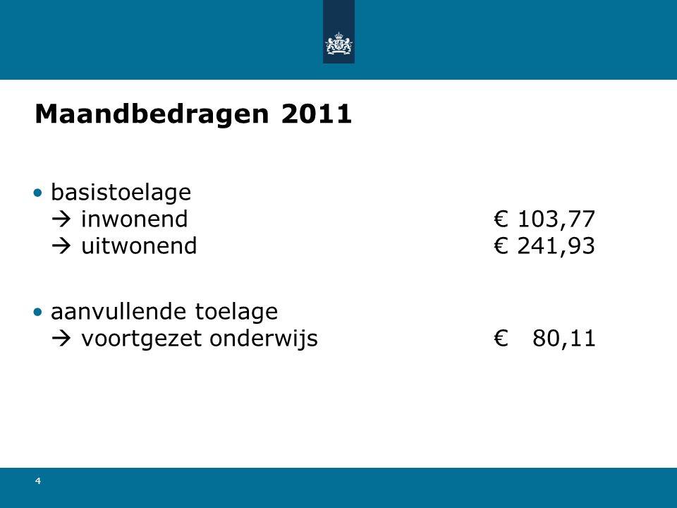 4 Maandbedragen 2011 basistoelage  inwonend€ 103,77  uitwonend€ 241,93 aanvullende toelage  voortgezet onderwijs€ 80,11