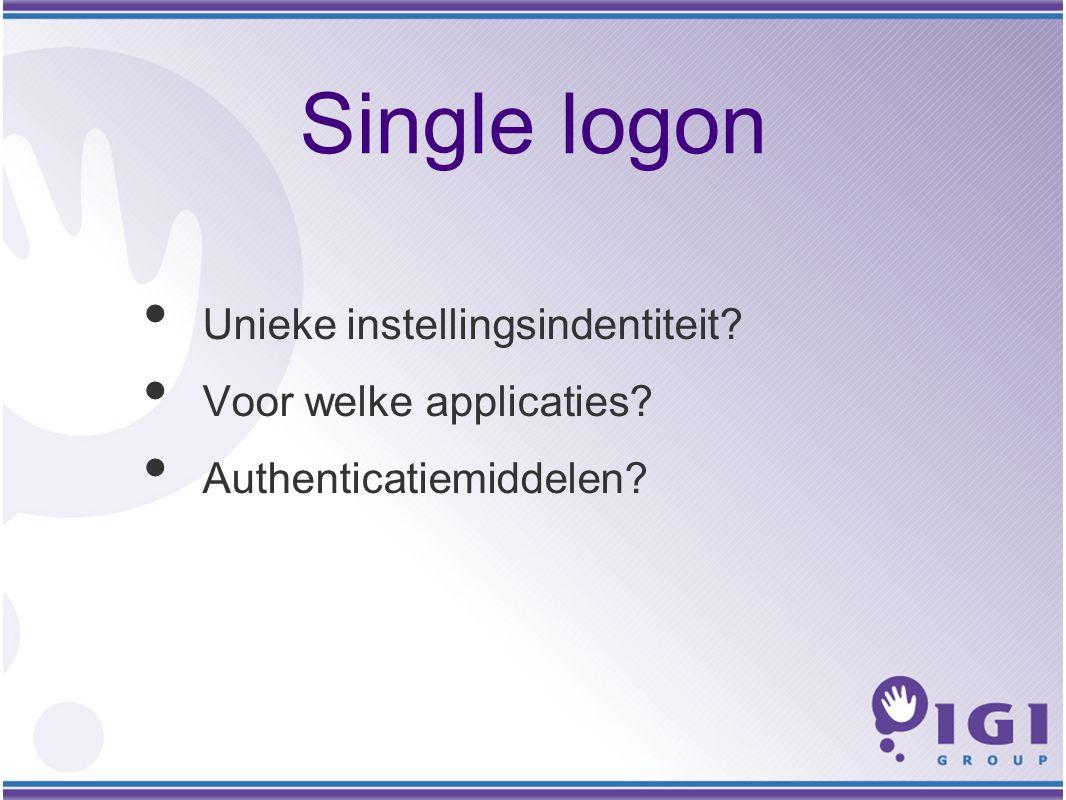 Single logon Unieke instellingsindentiteit Voor welke applicaties Authenticatiemiddelen