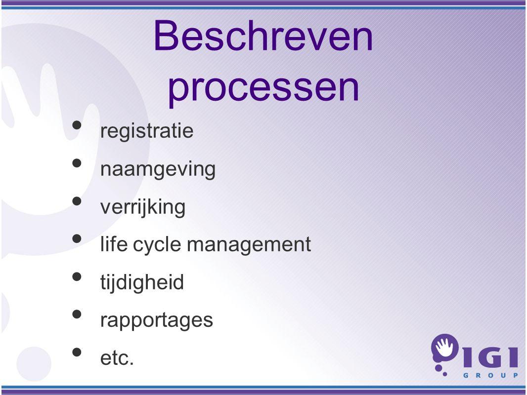 Beschreven processen registratie naamgeving verrijking life cycle management tijdigheid rapportages etc.