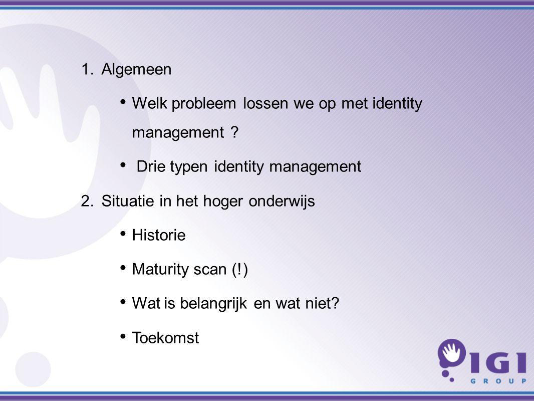 1.Algemeen Welk probleem lossen we op met identity management .