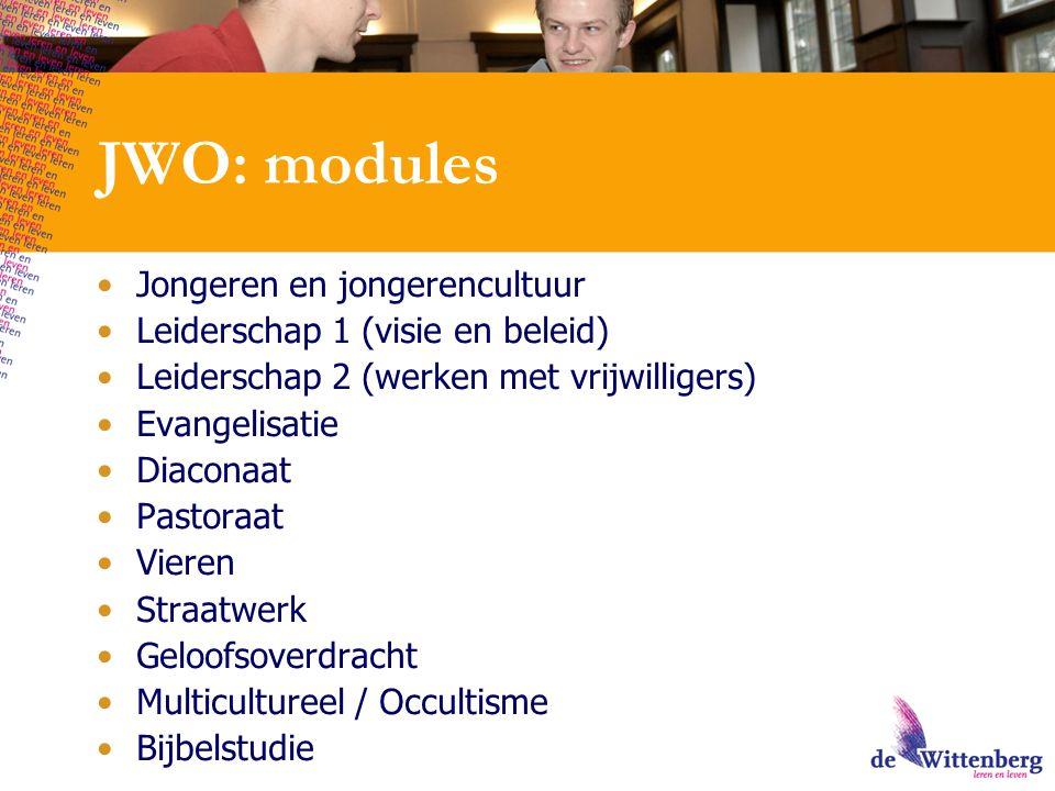 JWO: modules Jongeren en jongerencultuur Leiderschap 1 (visie en beleid) Leiderschap 2 (werken met vrijwilligers) Evangelisatie Diaconaat Pastoraat Vieren Straatwerk Geloofsoverdracht Multicultureel / Occultisme Bijbelstudie