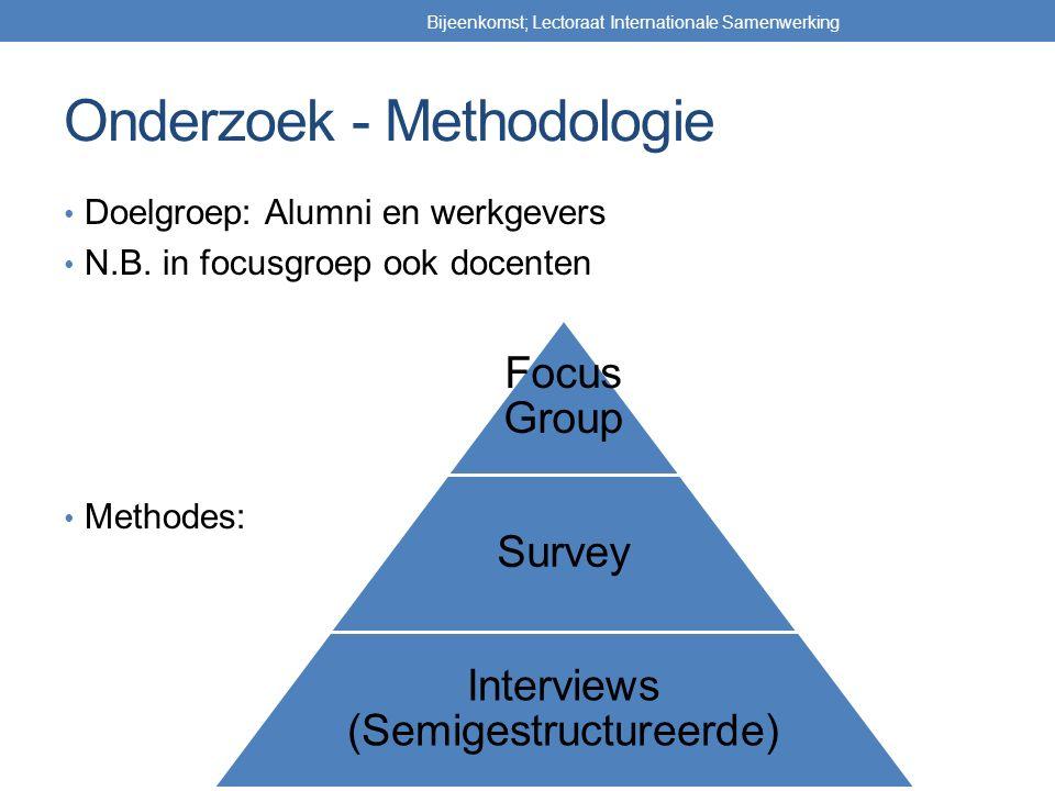 Onderzoek - Methodologie Doelgroep: Alumni en werkgevers N.B. in focusgroep ook docenten Methodes: Bijeenkomst; Lectoraat Internationale Samenwerking