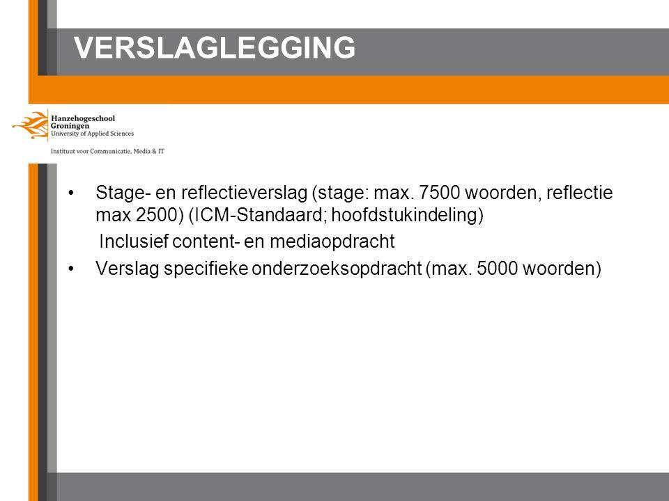 VERSLAGLEGGING Stage- en reflectieverslag (stage: max. 7500 woorden, reflectie max 2500) (ICM-Standaard; hoofdstukindeling) Inclusief content- en medi