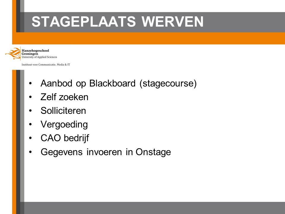 STAGEPLAATS WERVEN Aanbod op Blackboard (stagecourse) Zelf zoeken Solliciteren Vergoeding CAO bedrijf Gegevens invoeren in Onstage