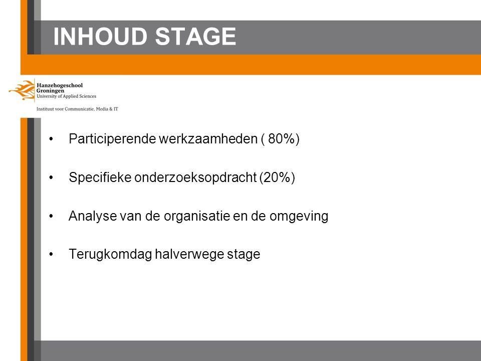 INHOUD STAGE Participerende werkzaamheden ( 80%) Specifieke onderzoeksopdracht (20%) Analyse van de organisatie en de omgeving Terugkomdag halverwege stage