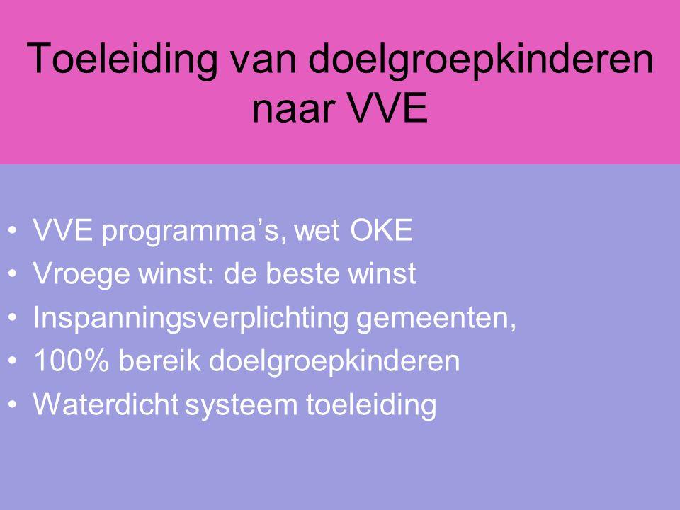 Toeleiding van doelgroepkinderen naar VVE VVE programma's, wet OKE Vroege winst: de beste winst Inspanningsverplichting gemeenten, 100% bereik doelgroepkinderen Waterdicht systeem toeleiding