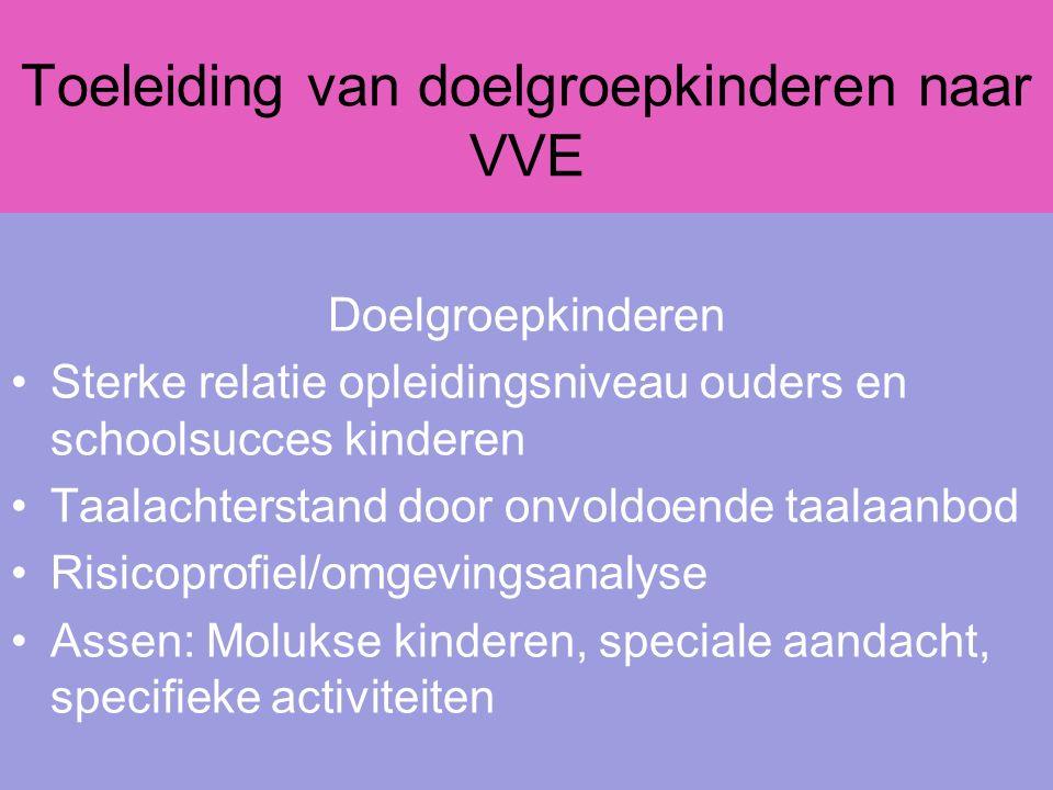 Toeleiding van doelgroepkinderen naar VVE Doelgroepkinderen Sterke relatie opleidingsniveau ouders en schoolsucces kinderen Taalachterstand door onvol