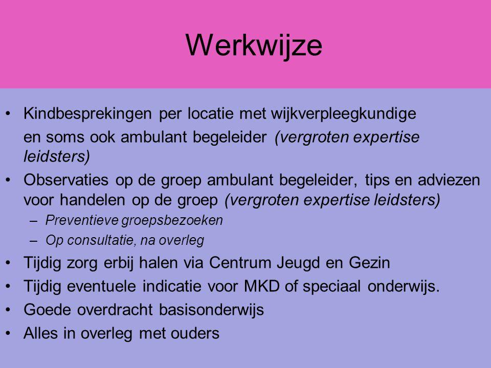 Werkwijze Kindbesprekingen per locatie met wijkverpleegkundige en soms ook ambulant begeleider (vergroten expertise leidsters) Observaties op de groep