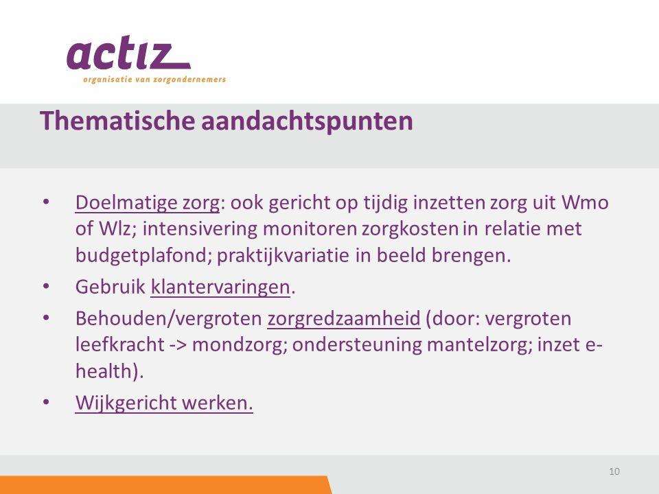 Doelmatige zorg: ook gericht op tijdig inzetten zorg uit Wmo of Wlz; intensivering monitoren zorgkosten in relatie met budgetplafond; praktijkvariatie in beeld brengen.