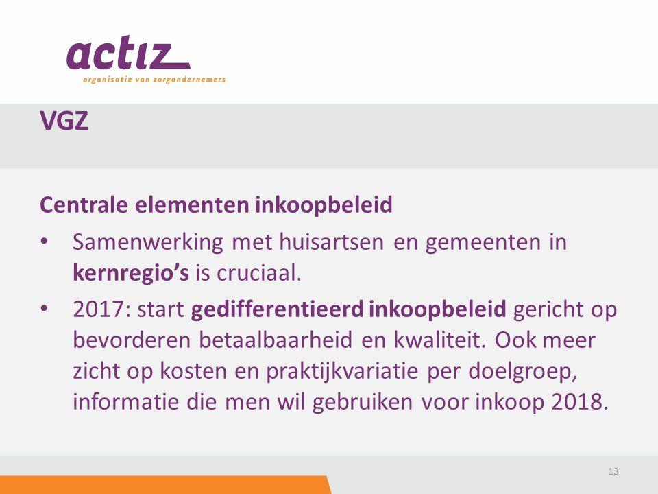 Centrale elementen inkoopbeleid Samenwerking met huisartsen en gemeenten in kernregio's is cruciaal.