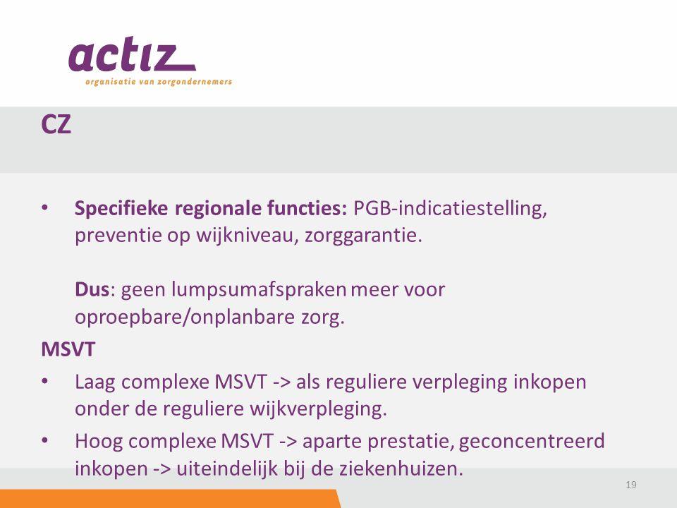 Specifieke regionale functies: PGB-indicatiestelling, preventie op wijkniveau, zorggarantie.