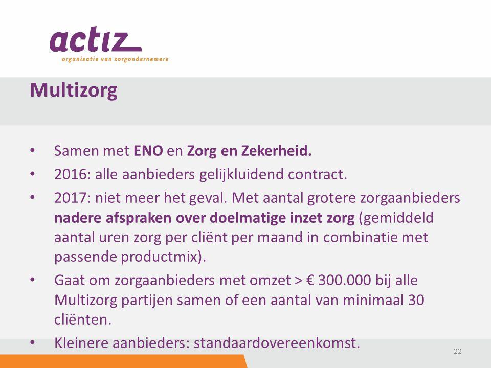 Samen met ENO en Zorg en Zekerheid. 2016: alle aanbieders gelijkluidend contract. 2017: niet meer het geval. Met aantal grotere zorgaanbieders nadere