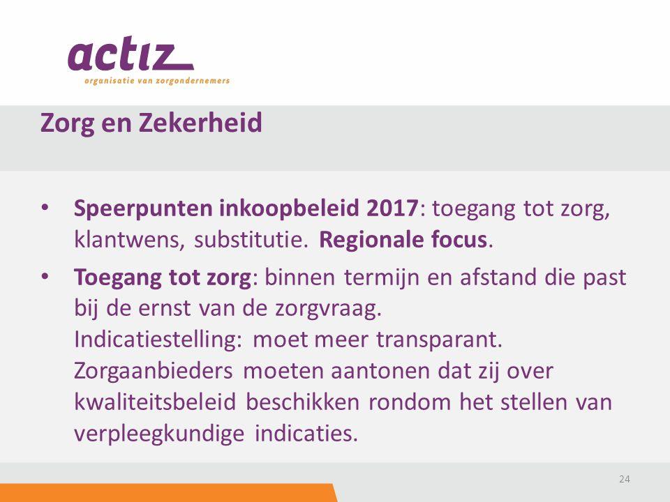 Speerpunten inkoopbeleid 2017: toegang tot zorg, klantwens, substitutie. Regionale focus. Toegang tot zorg: binnen termijn en afstand die past bij de