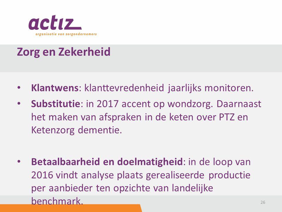 Klantwens: klanttevredenheid jaarlijks monitoren. Substitutie: in 2017 accent op wondzorg.