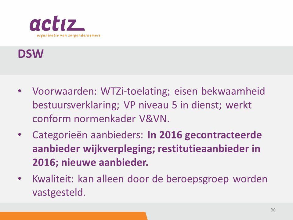 Voorwaarden: WTZi-toelating; eisen bekwaamheid bestuursverklaring; VP niveau 5 in dienst; werkt conform normenkader V&VN.