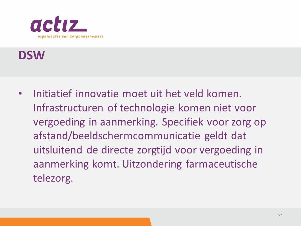 Initiatief innovatie moet uit het veld komen. Infrastructuren of technologie komen niet voor vergoeding in aanmerking. Specifiek voor zorg op afstand/