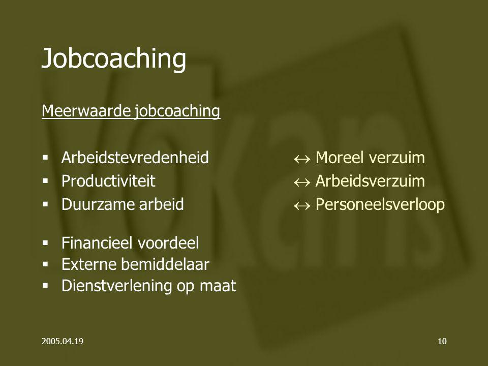 2005.04.1910 Jobcoaching Meerwaarde jobcoaching  Moreel verzuim  Arbeidsverzuim  Personeelsverloop  Financieel voordeel  Externe bemiddelaar  Dienstverlening op maat  Arbeidstevredenheid  Productiviteit  Duurzame arbeid