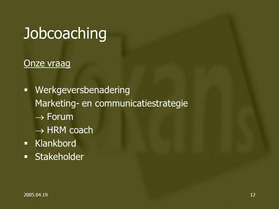 2005.04.1912 Jobcoaching Onze vraag  Werkgeversbenadering Marketing- en communicatiestrategie  Forum  HRM coach  Klankbord  Stakeholder