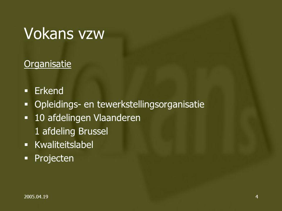 2005.04.194 Vokans vzw Organisatie  Erkend  Opleidings- en tewerkstellingsorganisatie  10 afdelingen Vlaanderen 1 afdeling Brussel  Kwaliteitslabel  Projecten