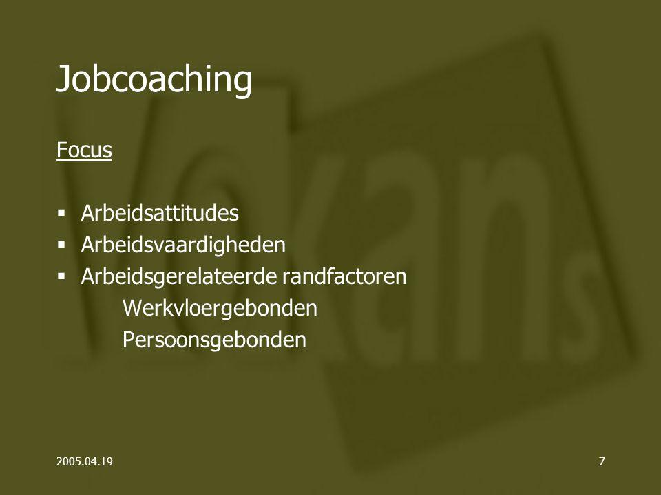 2005.04.197 Jobcoaching Focus  Arbeidsattitudes  Arbeidsvaardigheden  Arbeidsgerelateerde randfactoren Werkvloergebonden Persoonsgebonden