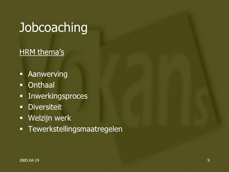 2005.04.199 Jobcoaching HRM thema's  Aanwerving  Onthaal  Inwerkingsproces  Diversiteit  Welzijn werk  Tewerkstellingsmaatregelen