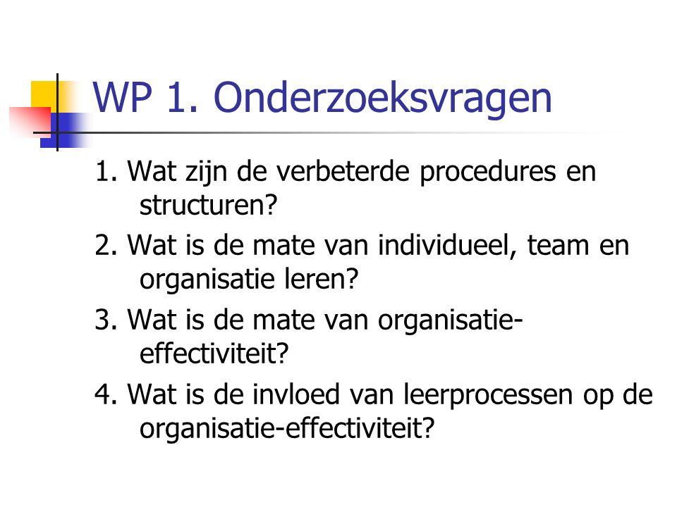 WP 1. Onderzoeksvragen 1. Wat zijn de verbeterde procedures en structuren.