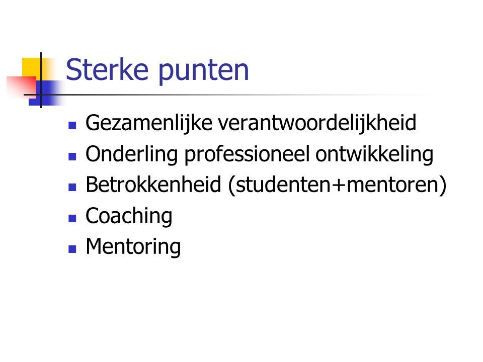 Sterke punten Gezamenlijke verantwoordelijkheid Onderling professioneel ontwikkeling Betrokkenheid (studenten+mentoren) Coaching Mentoring