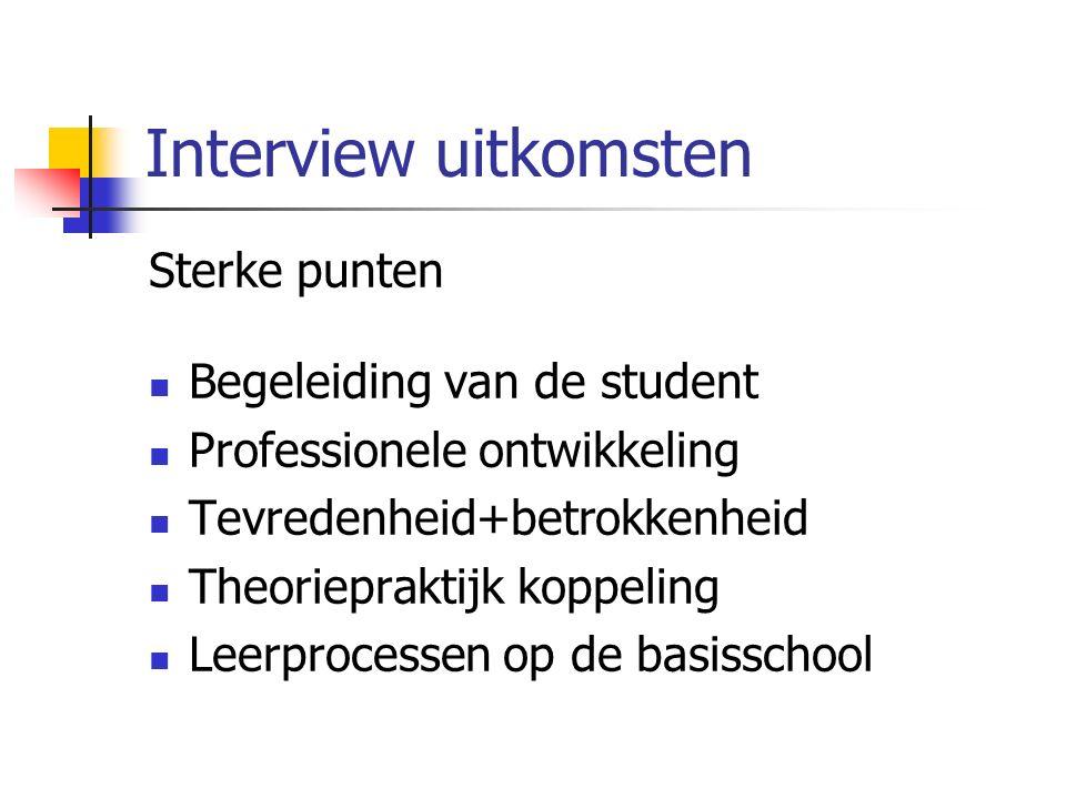 Interview uitkomsten Sterke punten Begeleiding van de student Professionele ontwikkeling Tevredenheid+betrokkenheid Theoriepraktijk koppeling Leerprocessen op de basisschool