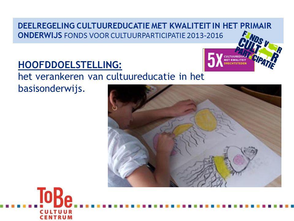 DEELREGELING CULTUUREDUCATIE MET KWALITEIT IN HET PRIMAIR ONDERWIJS FONDS VOOR CULTUURPARTICIPATIE 2013-2016 HOOFDDOELSTELLING: het verankeren van cultuureducatie in het basisonderwijs.
