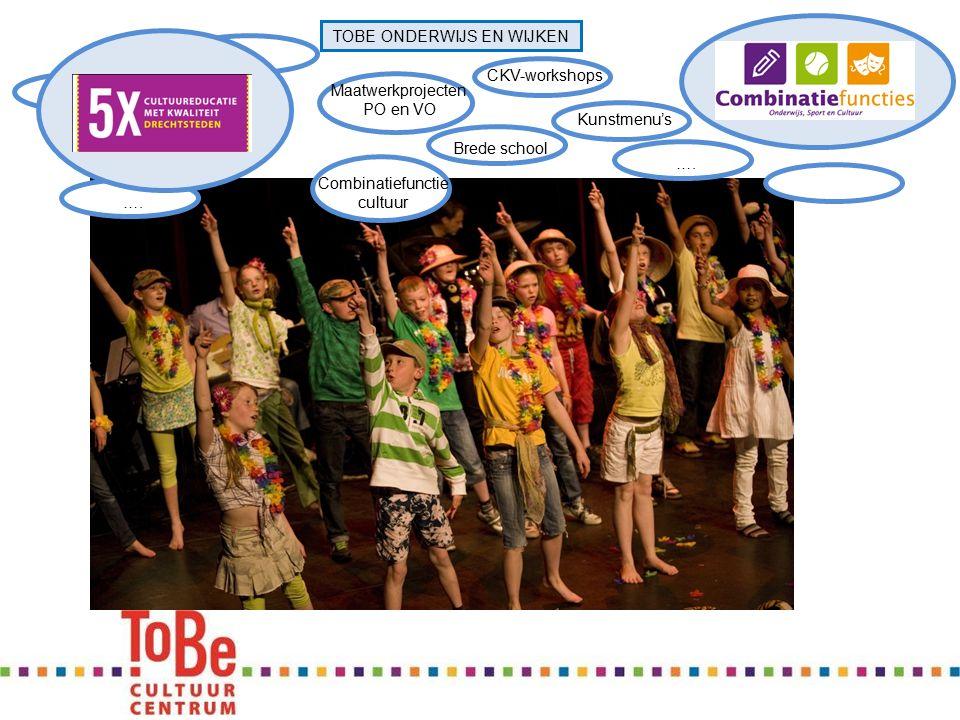 …. TOBE ONDERWIJS EN WIJKEN Brede school Kunstmenu'sCKV-workshops Combinatiefunctie cultuur Maatwerkprojecten PO en VO ….