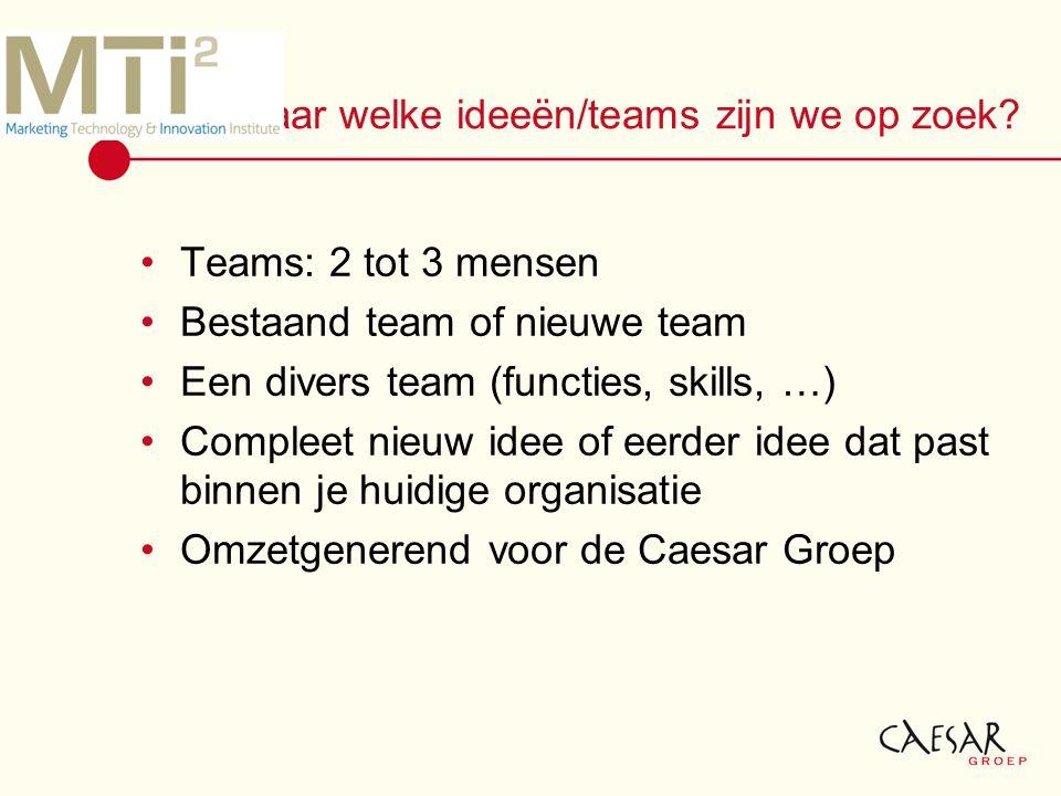 Naar welke ideeën/teams zijn we op zoek.
