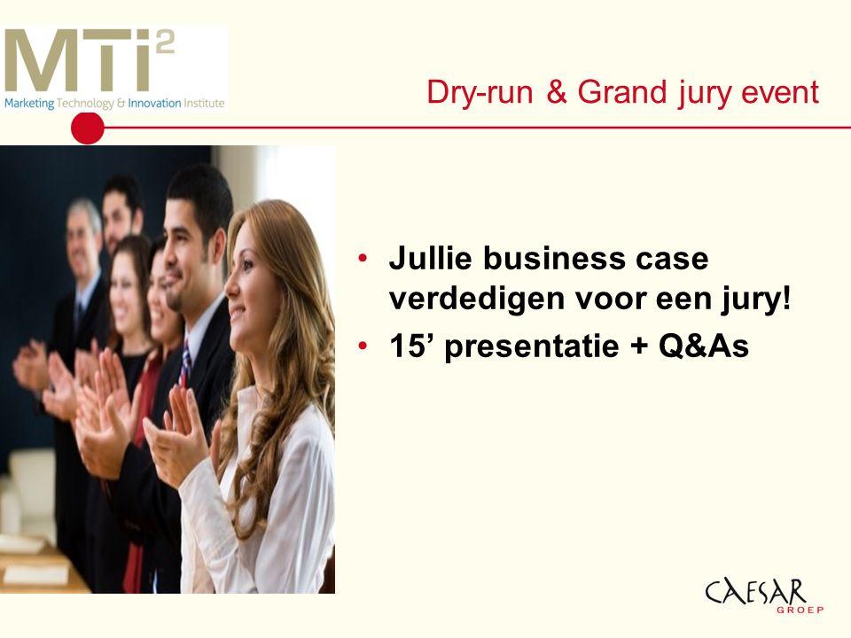 Dry-run & Grand jury event Jullie business case verdedigen voor een jury! 15' presentatie + Q&As