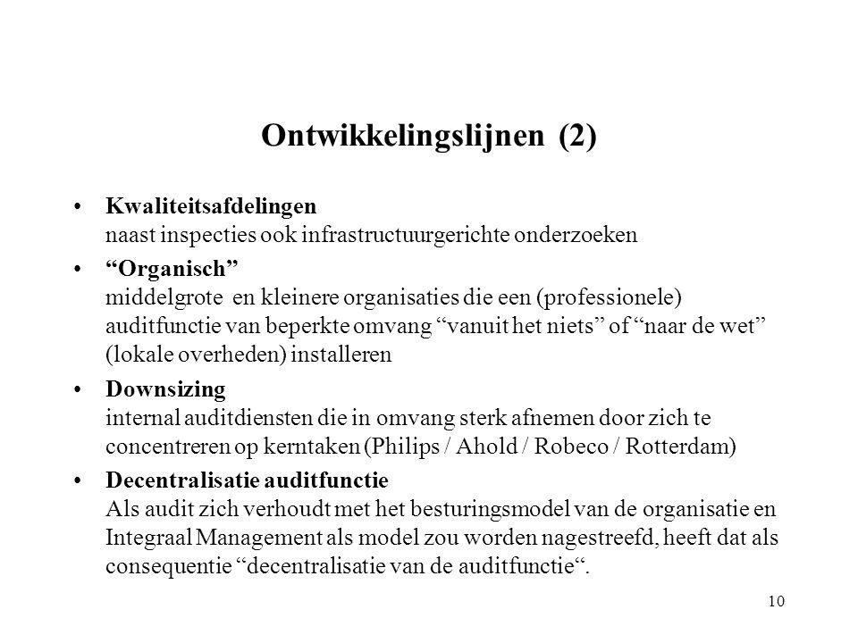 Ontwikkelingslijnen (2) Kwaliteitsafdelingen naast inspecties ook infrastructuurgerichte onderzoeken Organisch middelgrote en kleinere organisaties die een (professionele) auditfunctie van beperkte omvang vanuit het niets of naar de wet (lokale overheden) installeren Downsizing internal auditdiensten die in omvang sterk afnemen door zich te concentreren op kerntaken (Philips / Ahold / Robeco / Rotterdam) Decentralisatie auditfunctie Als audit zich verhoudt met het besturingsmodel van de organisatie en Integraal Management als model zou worden nagestreefd, heeft dat als consequentie decentralisatie van de auditfunctie .