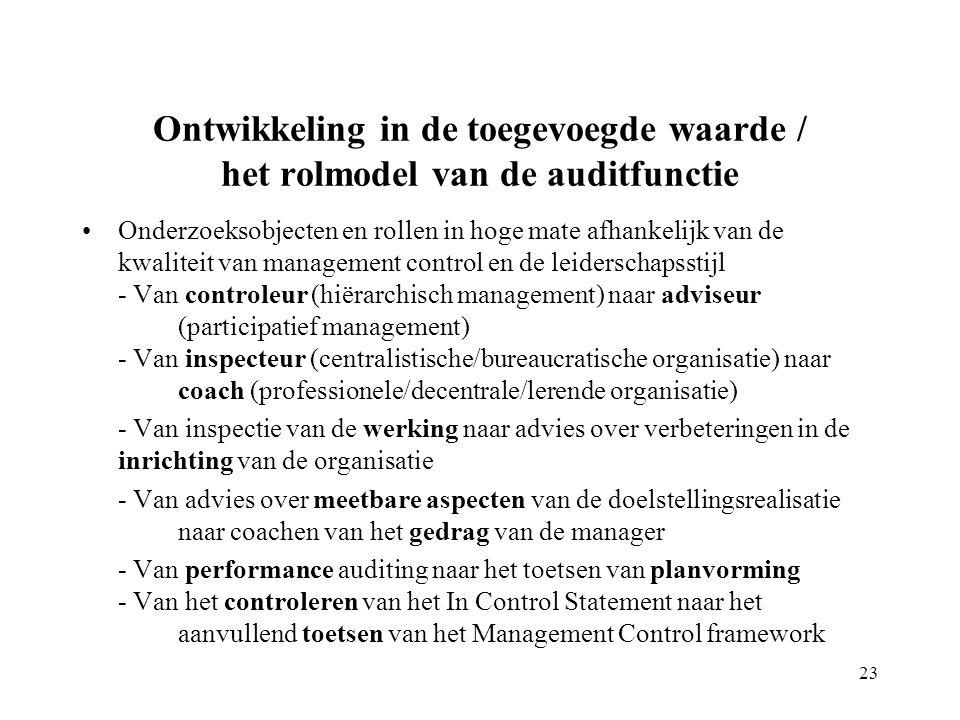Ontwikkeling in de toegevoegde waarde / het rolmodel van de auditfunctie Onderzoeksobjecten en rollen in hoge mate afhankelijk van de kwaliteit van management control en de leiderschapsstijl - Van controleur (hiërarchisch management) naar adviseur (participatief management) - Van inspecteur (centralistische/bureaucratische organisatie) naar coach (professionele/decentrale/lerende organisatie) - Van inspectie van de werking naar advies over verbeteringen in de inrichting van de organisatie - Van advies over meetbare aspecten van de doelstellingsrealisatie naar coachen van het gedrag van de manager - Van performance auditing naar het toetsen van planvorming - Van het controleren van het In Control Statement naar het aanvullend toetsen van het Management Control framework 23