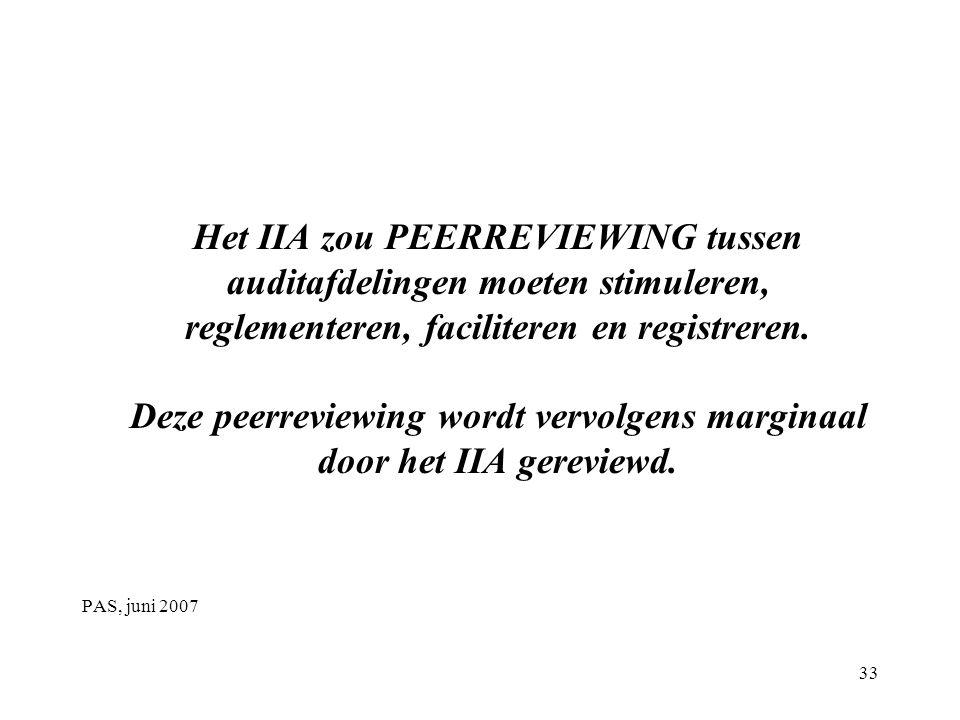 Het IIA zou PEERREVIEWING tussen auditafdelingen moeten stimuleren, reglementeren, faciliteren en registreren.