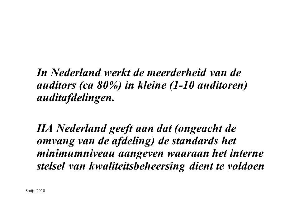 In Nederland werkt de meerderheid van de auditors (ca 80%) in kleine (1-10 auditoren) auditafdelingen.