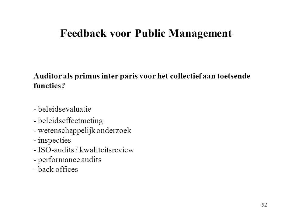 Feedback voor Public Management Auditor als primus inter paris voor het collectief aan toetsende functies.