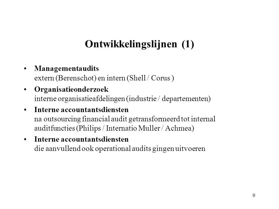 Ontwikkelingslijnen (1) Managementaudits extern (Berenschot) en intern (Shell / Corus ) Organisatieonderzoek interne organisatieafdelingen (industrie / departementen) Interne accountantsdiensten na outsourcing financial audit getransformeerd tot internal auditfuncties (Philips / Internatio Muller / Achmea) Interne accountantsdiensten die aanvullend ook operational audits gingen uitvoeren 9