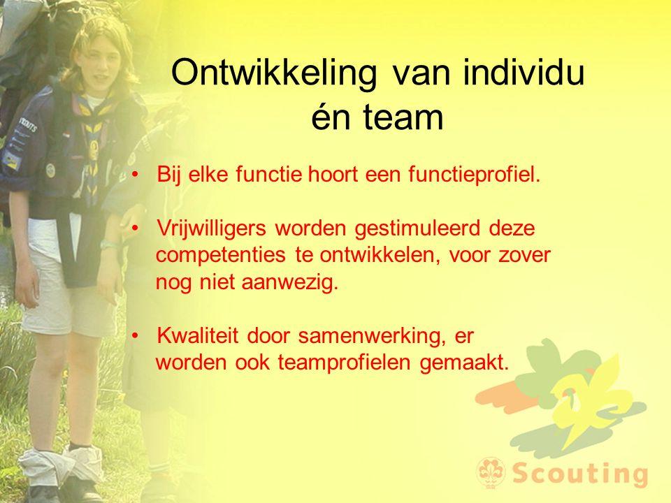 Ontwikkeling van individu én team Bij elke functie hoort een functieprofiel. Vrijwilligers worden gestimuleerd deze competenties te ontwikkelen, voor