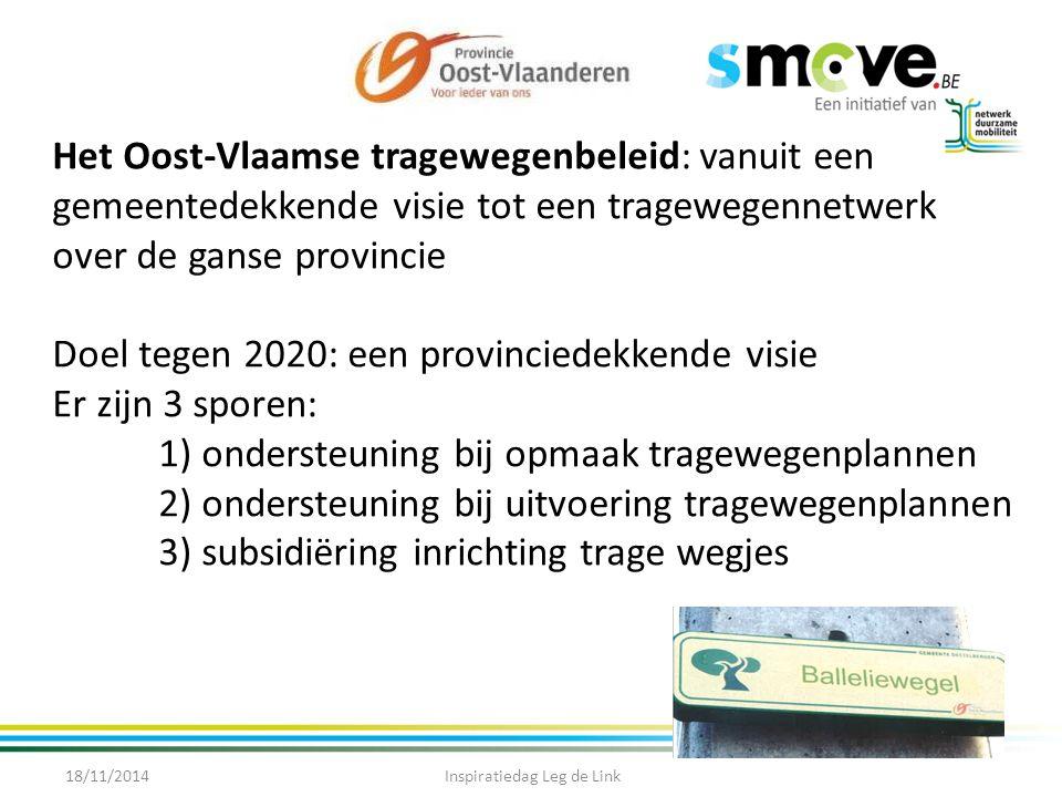 Het Oost-Vlaamse tragewegenbeleid: vanuit een gemeentedekkende visie tot een tragewegennetwerk over de ganse provincie Doel tegen 2020: een provinciedekkende visie Er zijn 3 sporen: 1) ondersteuning bij opmaak tragewegenplannen 2) ondersteuning bij uitvoering tragewegenplannen 3) subsidiëring inrichting trage wegjes 18/11/2014Inspiratiedag Leg de Link