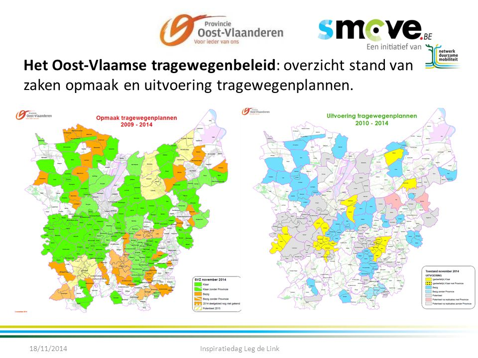 Opties voor Oost-Vlaamse tragewegenbeleid naar 2020 18/11/2014Inspiratiedag Leg de Link Bekijken hoe inzetten op Wegspotters Coaching gemeenten: verder onderzoeken.