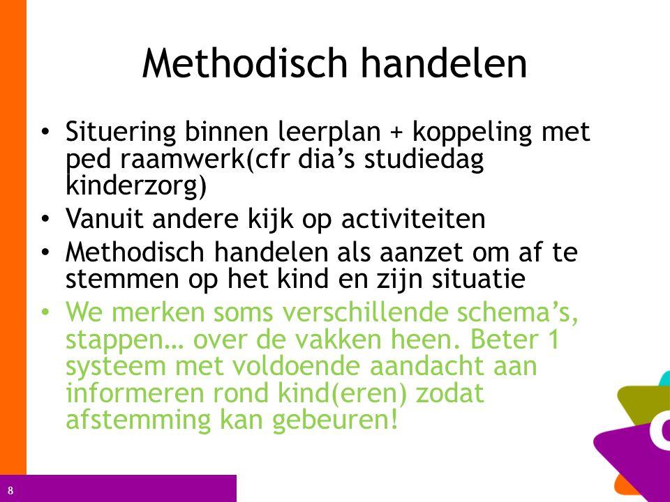 8 Methodisch handelen Situering binnen leerplan + koppeling met ped raamwerk(cfr dia's studiedag kinderzorg) Vanuit andere kijk op activiteiten Method