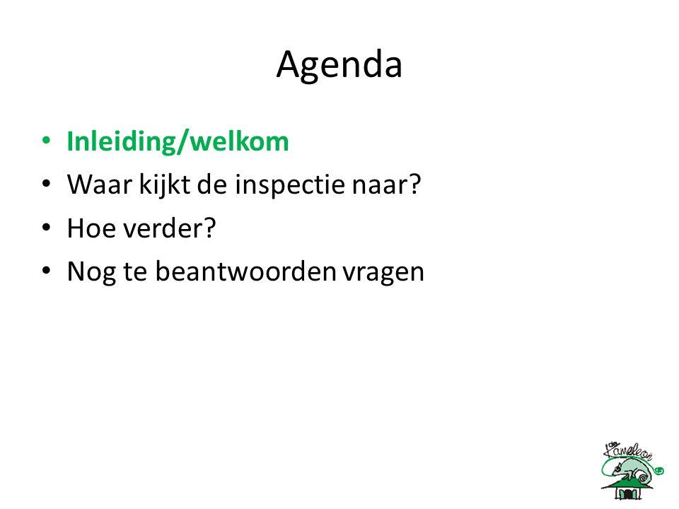 Agenda Inleiding/welkom Waar kijkt de inspectie naar? Hoe verder? Nog te beantwoorden vragen