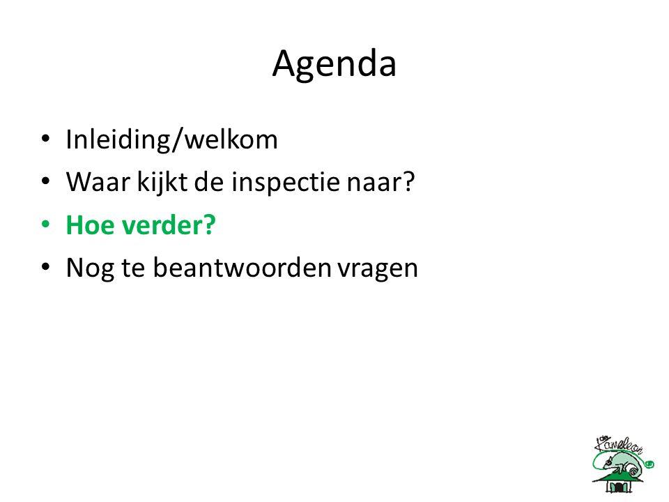 Agenda Inleiding/welkom Waar kijkt de inspectie naar Hoe verder Nog te beantwoorden vragen