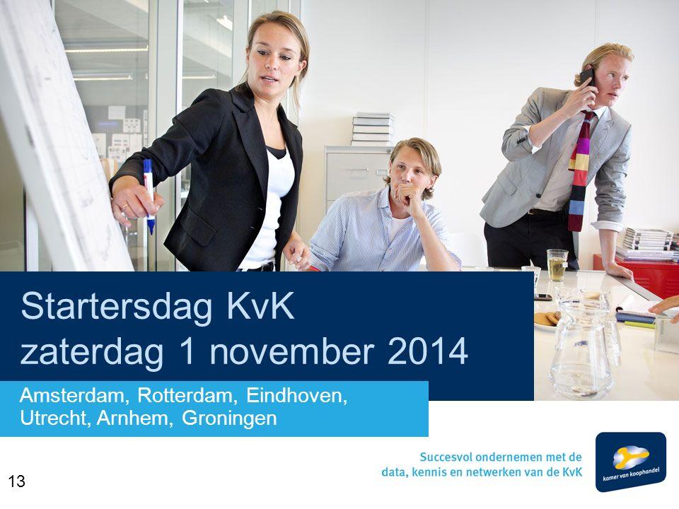 Startersdag KvK zaterdag 1 november 2014 Amsterdam, Rotterdam, Eindhoven, Utrecht, Arnhem, Groningen 13