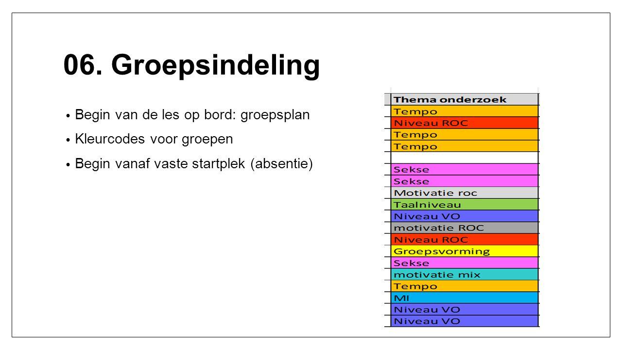 06. Groepsindeling Begin van de les op bord: groepsplan Kleurcodes voor groepen Begin vanaf vaste startplek (absentie)