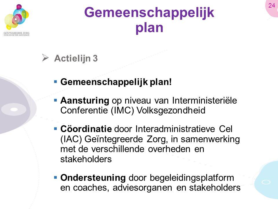 Gemeenschappelijk plan  Actielijn 3  Gemeenschappelijk plan.