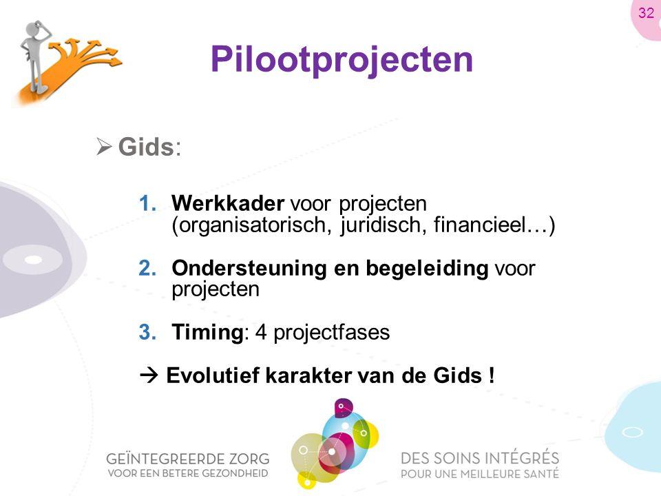 Pilootprojecten  Gids: 1.Werkkader voor projecten (organisatorisch, juridisch, financieel…) 2.Ondersteuning en begeleiding voor projecten 3.Timing: 4 projectfases  Evolutief karakter van de Gids .