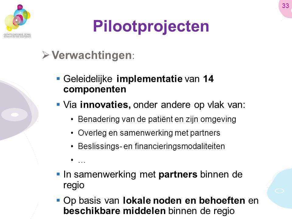 Pilootprojecten  Verwachtingen :  Geleidelijke implementatie van 14 componenten  Via innovaties, onder andere op vlak van: Benadering van de patiënt en zijn omgeving Overleg en samenwerking met partners Beslissings- en financieringsmodaliteiten …  In samenwerking met partners binnen de regio  Op basis van lokale noden en behoeften en beschikbare middelen binnen de regio 33
